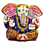 Metal Ganesha Statue - Hand Painted Lord Ganesh Religious Gift Décor - Collectible India