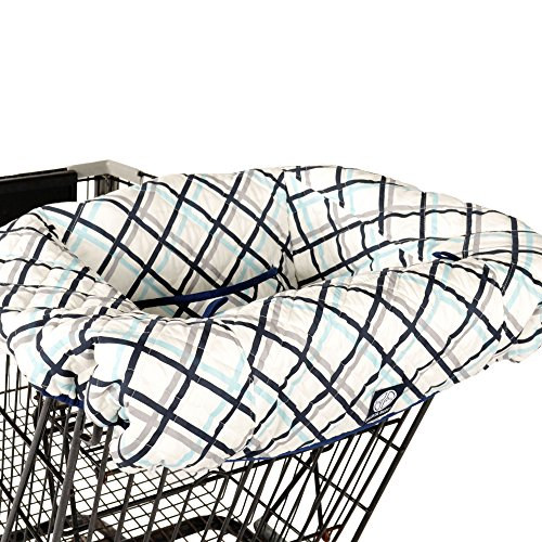 Best Price Navy Plaid Shopping Cart and Highchair Cover - 100% Cotton Design