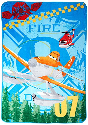 Disney/Pixar Planes Fire and Rescue Plush Blanket, Blue - 1