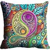 MeSleep Digitally Printed Ying Yang Micro Fabric Cushion Cover - Blue