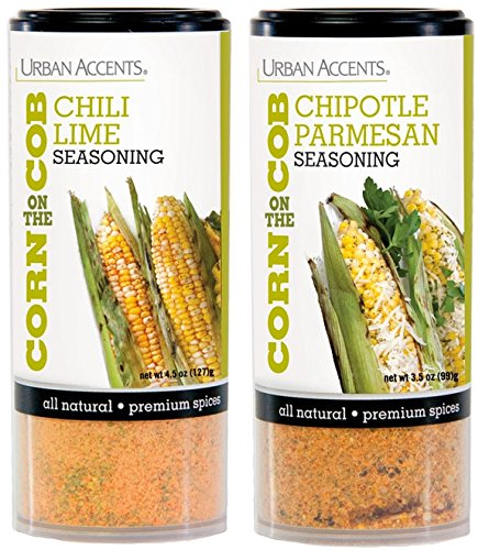Urban Accents Corn On The Cob Vegetable Seasoning, Chile Lime And Chipotle Parmesan (2-Pack)