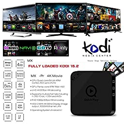 Susay® 2016 MX-P Pr Android TV BOX Amlogic S905 Quad Core 1000M LAN 1GB/8GB Iptv Set Top Box 2.4GHz WiFi with Bluetooth 4.0 KODI Pre-installed Streaming Media Player