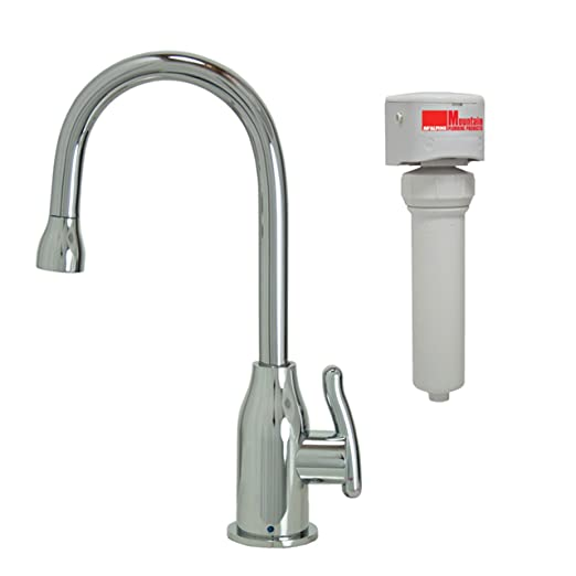 Mountain Plumbing MT1803FIL-NL/PVDPN Point-of-Use Drinking Faucet and Mountain Pure Water Filtration System with Wine Bottle Spout and Curved Handle, Polished Nickel