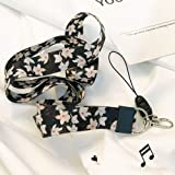 Lanyard Neck Strap with, Two-Sided Printing in Full Colour and Ideal for Keys ID Badges Cell Phone Mp3 USB Holder.(White Flower) (Color: White Flower)