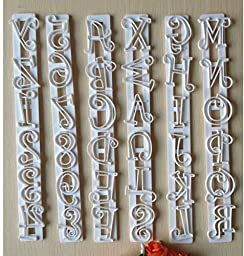 SDBING 6pcs Alphabet Number Letter Fondant Cake Frill Edge Sugarcraft Cutter Mold Tool