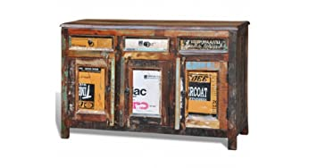 Antique Style Wooden Reclaimed Storage Cupboard Cabinet With 3 Doors & 3 Drawers - Pure Handmade - This Furniture Provides A Great Storage & Organizer - Will Surely Be A Perfect Addition To Your Home By eCommerce Excellence