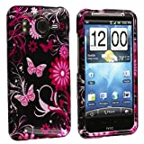 Pink Butterfly Flowers Design Crystal Hard Skin Case Cover for HTC Inspire 4G