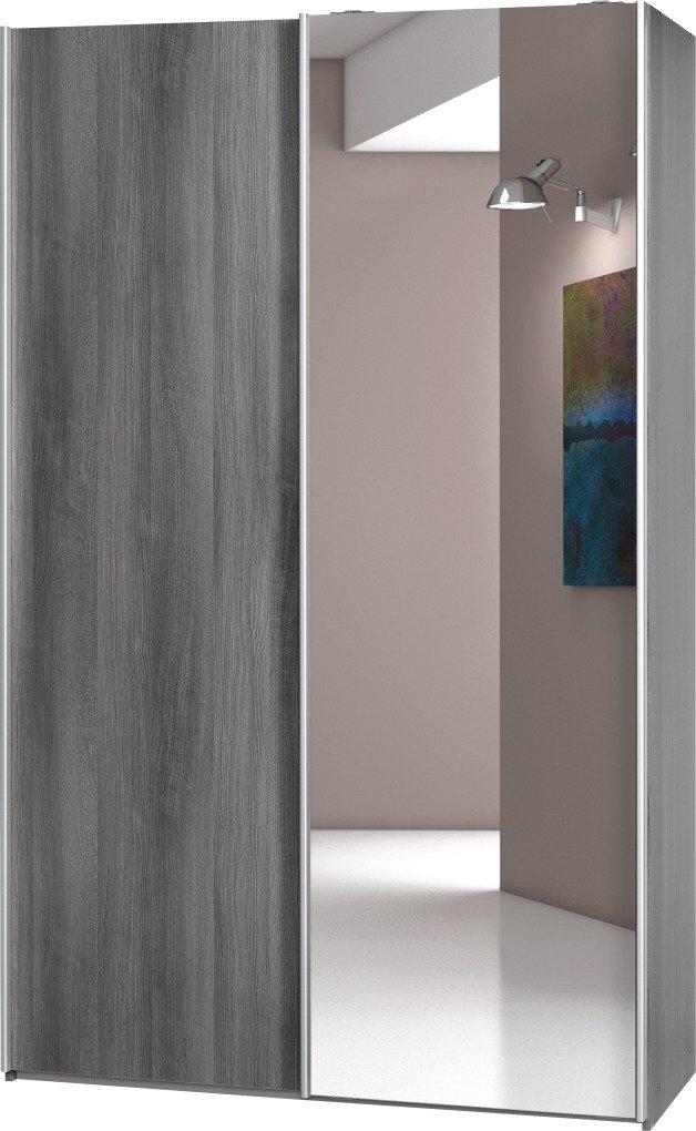 Schwebetürenschrank Soft Plus Smart Typ 42, 120 x 194 x 61cm, Silbereiche/Silbereiche/Spiegel  Überprüfung und weitere Informationen