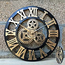 Carpenter 18 inch Art Big Gear Wooden Vintage French Wall Clock Oversized 3D Retro Rustic Decor Luxury for House/Gift(Roman numerals Gear gold)