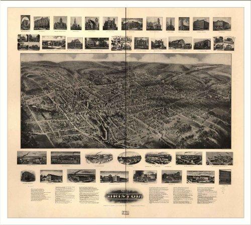 Historic Bristol, Connecticut, c. 1907 Panoramic Map