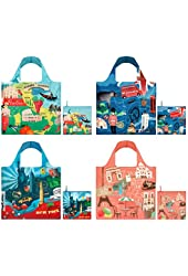 LOQI Urban1 Collection Pouch Reusable Bags, Multicolored, Set of 4