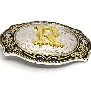 Vintage Fashion Western Belt Buckle A to Z Initial Letter Cowboy Belt Buckles for Men