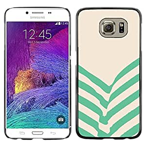 Omega Covers - Snap on Hard Back Case Cover Shell FOR Samsung Galaxy S6 - Green Beige Stripes Lines