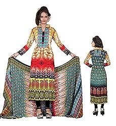 BalajiWomen's Crepe Unstitched dress material(2009-multicolor-free size)