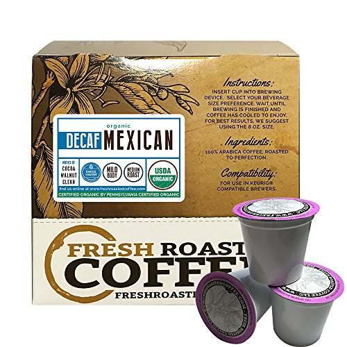 Mexican SWP Decaf Organic Single-Serve Cups, 18 ct. of Single Serve Capsules  for Keurig K-Cup Brewers, Fresh Roasted Coffee LLC. (Mexican Decaf Coffee K Cup compare prices)