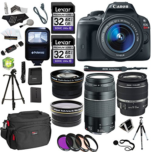 Cheap Canon EOS Rebel SL1 Digital SLR with 18-55mm STM Lens + EF 75-300mm f/4-5.6 III + Polaroid Stu...