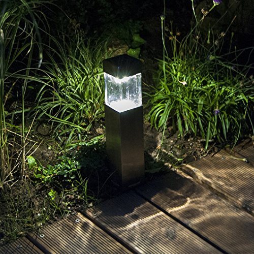 pack satinless steel solar bollard super bright solar lights outdoor sogrand solar pathway lights solar landscape lighting with super bright solar garden - Solar Landscape Lights