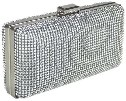 Womens Designer Silver Hard Case Clutch Evening Bag KCMODE