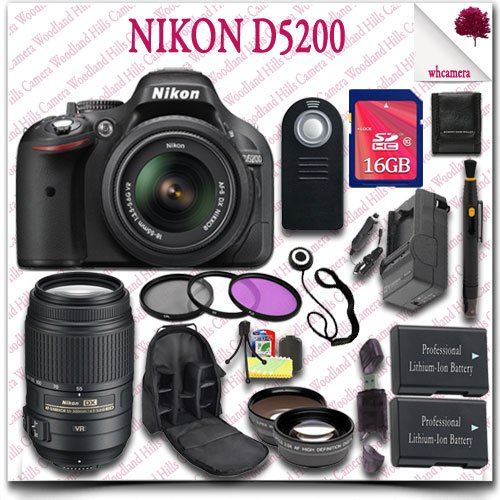 Nikon D5200 Digital Slr Camera With 18-55Mm Af-S Dx Vr (Black) + Nikon 55-300Mm Af-S Dx Vr Lens (Refurbished) + 16Gb Sdhc Class 10 Card + Wide Angle Lens / Telephoto Lens + 3Pc Filter Kit + Slr Camera Backpack + Wireless Remote 21Pc Nikon Saver Bundle