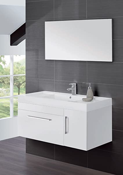 Composizione bagno sospesa in mdf bianco con specchio su pannello