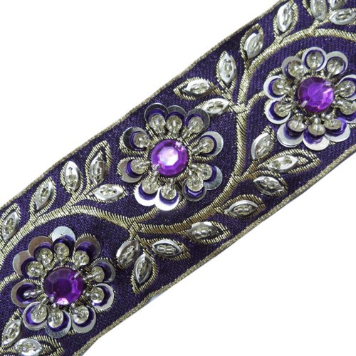 Hand Beaded Purple Stone Sequin Trim Ribbon Sewing 1 Yd