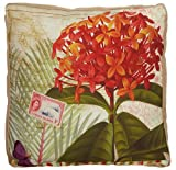 Tradewinds Red and Orange Flowers 20 Inch Burlap Pillow