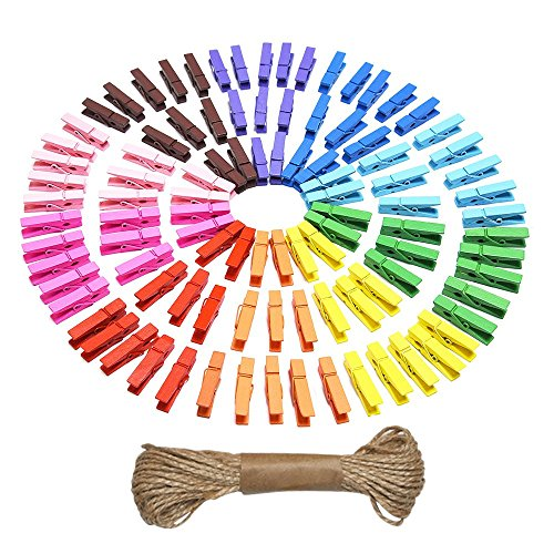 eBoot Mini Colored Natural Wooden Clothespins Photo Paper Peg Pin Craft Clips with Jute Twine, 100 Pieces (Mini Clips For Pictures compare prices)