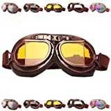 Peicees Vintage Helmet Goggles Motrocycle Scooter Cycle Mountain Bike Motorcross Cycling Goggles Retro Aviator Pilot Goggles Off-Road Glasses Eyewear(Amber Lens) (Color: Amber Lens)