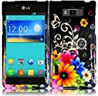 Hard Chromatic Flower Case Cover Faceplate Protector for LG Optimus Showtime L86C Straight Talk / Net 10 with Free Gift Reliable Accessory Pen