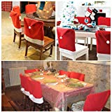 AMA(TM) 6pcs Christmas Chair Covers Xmas Santa Hat Cap Dining Room Dinner Table Decor Party Gift (6pcs)
