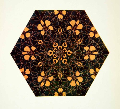 1905-color-print-kate-greenaway-tile-decorative-design-drawing-student-art-work-original-color-print