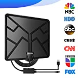 2019 Newest 105 Miles Range HDTV Antenna, TV Antenna Indoor Amplified Digital HD Antenna Free Gain Channels with High Definition Antenna Signal Booster, 4K 1080P Long Coax Cable - High Reception (Color: Black)