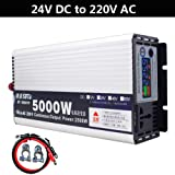 5000W DC 12V to AC 220V Auto Car Power Inverter Charger Converter Adapter Modified Sine Wave USB Adapter Surge Power (Output Voltage 220V, Input Voltage 24V) (Color: Input Voltage 24V, Tamaño: Output Voltage 220V)