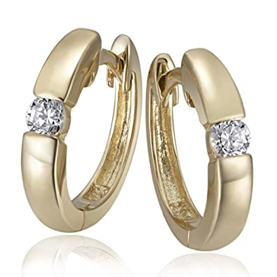 Goldmaid Women's Earrings Yellow Gold two Zirconia 9ct