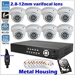 Complete High-end 8 Channel D1 Network iPhone Access DVR (1000GB DH) Surveillance CCTV Security Camera System Package With 8 Sony CCD Effio 700TVL 36 infrared LEDs Nigh Vision Vandalproof Dome Camera