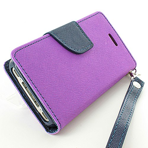 Mylife (Tm) Grape Purple + Twilight Blue {Girly Design} Faux Leather (Card, Cash And Id Holder + Magnetic Closing + Hand Strap) Slim Wallet For The Iphone 5C Smartphone By Apple (External Textured Synthetic Leather With Magnetic Clip + Internal Secure Sna