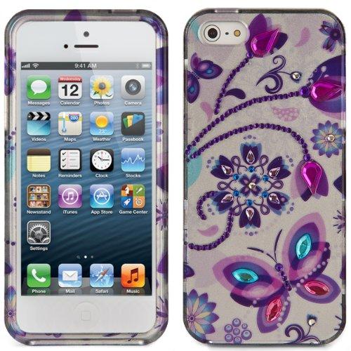 Fashion Art Strass Rhinestone Design Schutzfolie Hülle Tasche Etui Case für Apple iPhone 5 5th generation (Purple Butterfly)