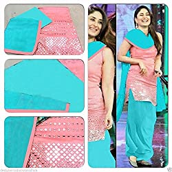 RockChin Fashions Pink and Blue Unstitched Embroidered Cotton Dress Material