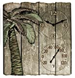Springfield 91940 Palm Tree Poly Resin Clock and Thermometer