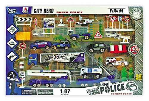 XY-Toys-40-Piece-Die-Cast-Metal-Plastic-Police-Playset-with-SWAT-Vehicles-Truck-Roadblocks-Traffic-Signs-and-Much-More-89703