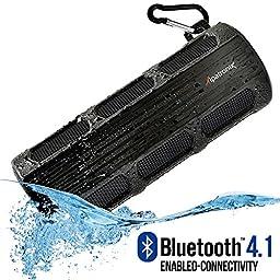 Waterproof Bluetooth Speaker, Alpatronix [AX410: Heavy-Duty & Rugged] Ultra Portable Wireless 12-Watt Stereo Speaker with Shockproof, Dustproof, Splashproof, Water-Resistant Features includes Bluetooth 4.1, Built-In 3000mAh Rechargeable Battery, Enhanced