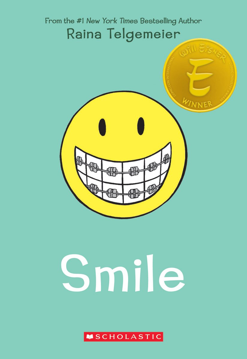Smile by Raina Telgemeier book cover  graphic novel