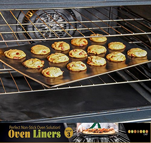 Twisted Chef Oven Liners - Set of 3 Non Stick Accessories - Keep Gas, Electric and Toaster Ovens Clean (Viking Double Oven Parts compare prices)