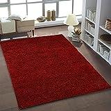 Teppich Shaggy Hochflor Einfarbig Wohnzimmer Rot Neu Öko Tex 80x150