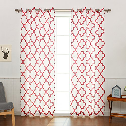 Best Home Fashion Oxford Basketweave Reverse Moroccan Print Curtains - Stainless Steel Nickel Grommet Top - Cardinal Red - 52