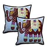 Cotton Embroidered Pillow Covers Handcrafted Elephant Patchwork Set of 2 Cushion Cases 41 x 41 cmsby DakshCraft