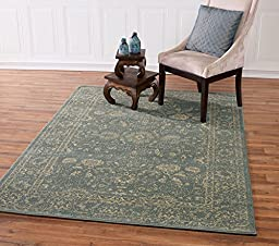 Teal And Beige Traditional Oriental Mahal Design 5 by 7 Area Rug (5\'3\