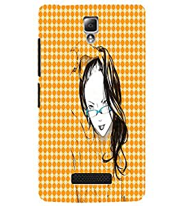 PrintDhaba Girl with Specs D-2913 Back Case Cover for LENOVO A2010 (Multi-Coloured)