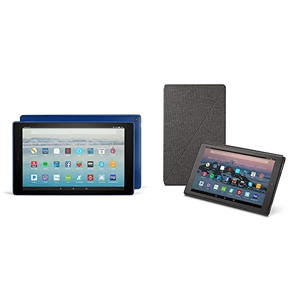 Fire HD 10 Tablet (32 GB, Marine Blue, With Special Offers) + Amazon Standing Case (Charcoal Black) (Color: Marine Blue)