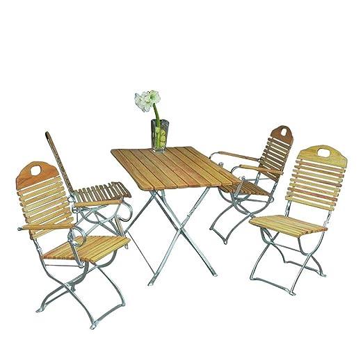 Gartensitzgruppe aus Robinie massiv klappbar (5-teilig) Pharao24